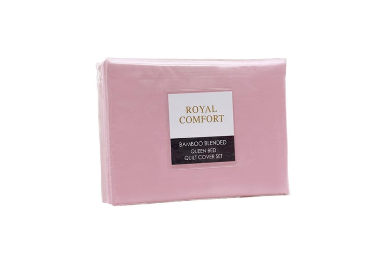Royal Comfort Bamboo Blended Quilt Cover Set 1000TC Ultra Soft Luxury Bedding - Queen - Blush