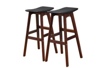 2x Beech Wood Bar Stool Black BR1022