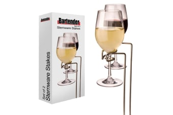 2pc Bartender 30cm Picnic Outdoor Stemware Stakes Holder Rack Stand f Wine Glass