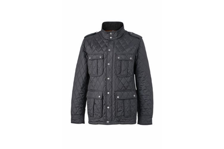 James and Nicholson Mens Diamond Quilted Jacket (Black) (M)