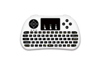 2.4Ghz Wireless Keyboard Touchpad Presenter Rechargeable 7 Led Mobile Pc - White