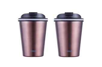 2x Avanti 280ml Go Cup Double Wall Insulated S S Travel Outdoor Mug w Lid Rose