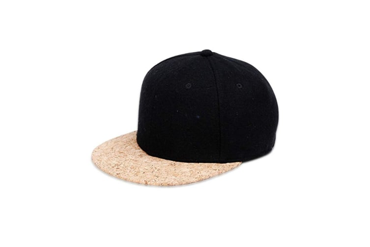 Snapback Hats For Men Women Cork Flat Bill Adjustable Baseball Caps Black