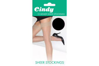 Cindy Womens/Ladies 15 Denier Sheer Stockings (1 Pair) (Black)
