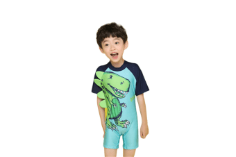 Boys One Piece Swimsuit - Kids Short Sleeves Swimwear Cartoon Dinosaur L