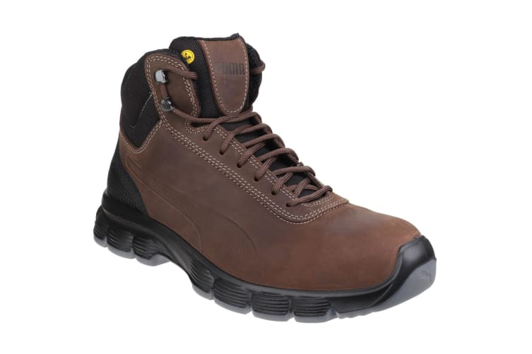 Puma Mens Condor Mid Lace Up Leather Safety Boots (Brown) (6 UK)