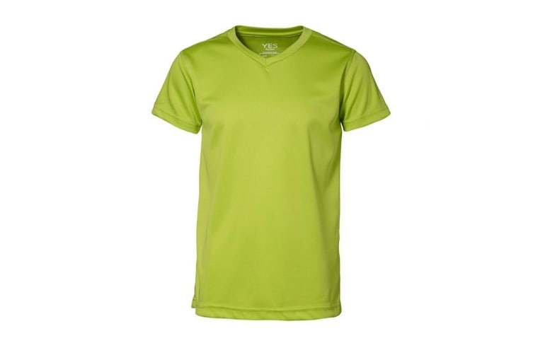 ID Childrens/Kids Yes Active Fitted Short Sleeve V-Neck T-Shirt (Lime) (4/6)