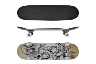 vidaXL Oval Shape Skateboard 9 Ply Maple Dragon Design 8""