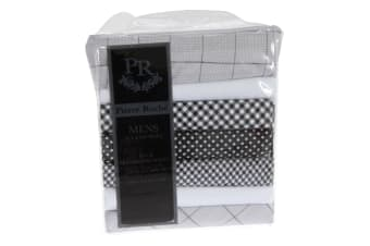 Pierre Roche Mens 100% Cotton Patterned Handkerchief (7 Pack) (Grey/White/Black) (One Size)
