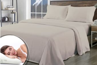 Royal Comfort 1000TC Bamboo Blend Sheet Set + Bamboo Pillow Twin Pack (Queen, Warm Grey)