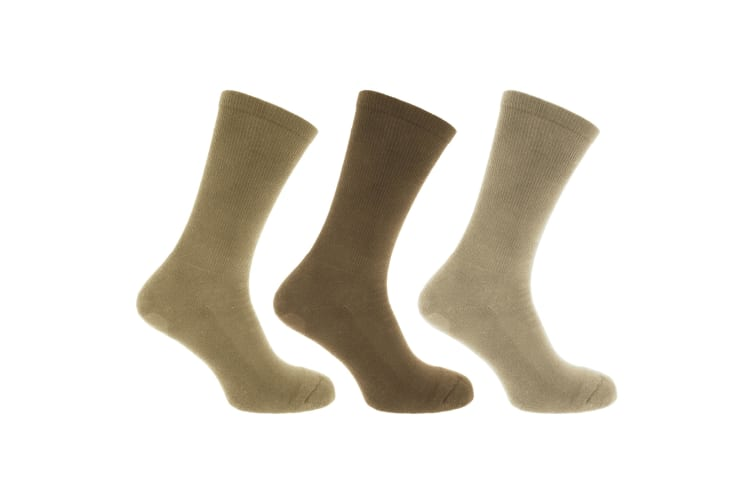 FLOSO Mens Premium Quality Cotton Rich Cushion Sole Socks (Pack Of 3) (Shades of Brown) (UK Shoe 6-11  EUR 39-45)