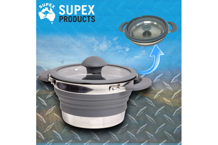1.5L LITRE POP UP SAUCEPAN POT PAN SILICONE COLLAPSIBLE CAMPING CARAVAN GREY