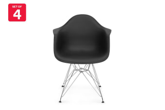 Shangri-La Set of 4 DAW Dining Armchairs - Eames Replica (Black)