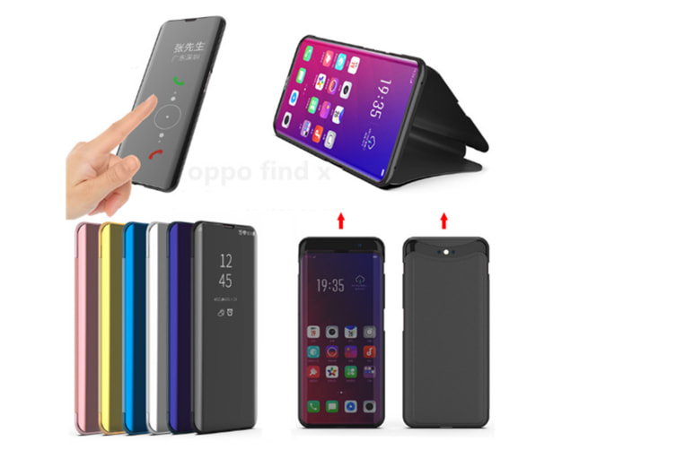 Mirror Cover Electroplate Clear Smart Kickstand For Oppo Series Purple Oppo F7