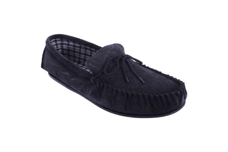 Mokkers Mens Bruce Real Suede Moccasin Slippers (Navy Blue) (10 UK)