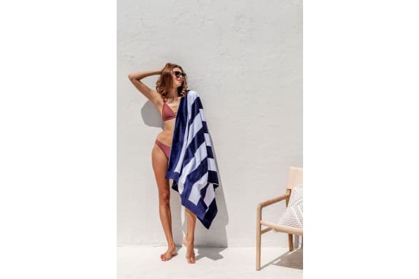 Bambury Egyptian Cotton Beach Towel - Jacquard - 95 x 175cm - Navy Stripe