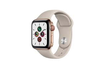 Apple Watch Series 5 (Gold Stainless Steel, 40mm, Stone Sport Band, Cellular)