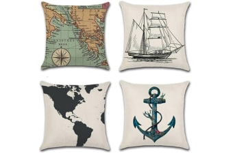 4 Pack Decorative And Comfy Water Adventure And Geographical Printed Throw Pillow Covers