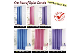 One Panel of Easy Care Eyelet Curtains Blue 180 x 221 cm