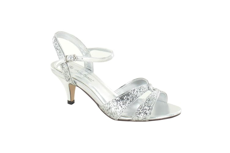Anne Michelle Womens/Ladies Twisted Glitter Heeled Sandals (Silver) (7 UK)