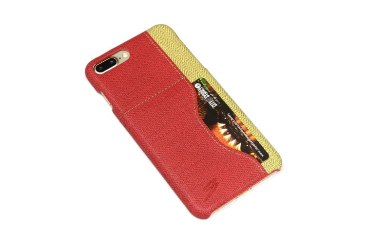 For iPhone 8 PLUS 7 PLUS Case Elegant Woven Pattern Durable Leather Cover Red