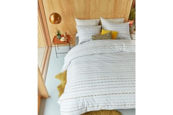 Woven Lines Yellow Cotton Percale Quilt Cover Set by Bedding House