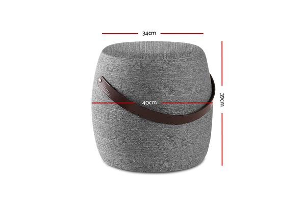 Artiss Ottoman Footstool Pouffe Foot Stool Fabric PU Strap Rest Padded Seat Grey