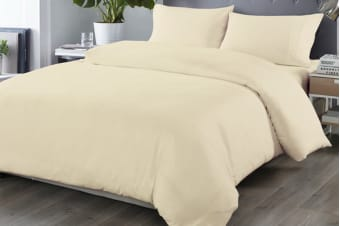 Royal Comfort Blended Bamboo Quilt Cover Set (Queen, Dark Ivory)