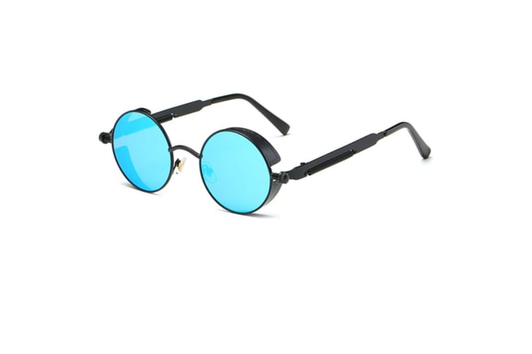 Round Sunglasses Metal Frame Mirrored Circle Lens   BlueLens