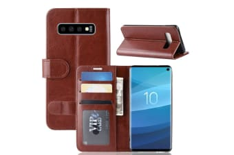 For Samsung Galaxy S10 Case Brown Horse Texture PU Leather Folio Cover