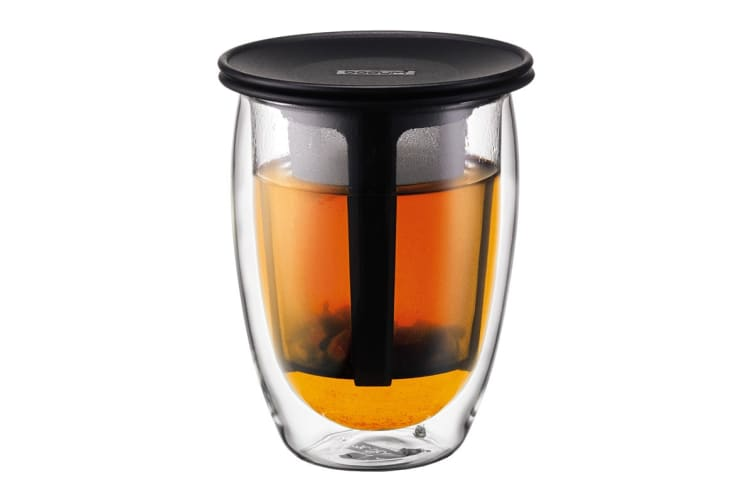 Bodum Tea For One Glass Double Wall &  Tea Strainer - 0.35 L, 12 oz (K11153-01)