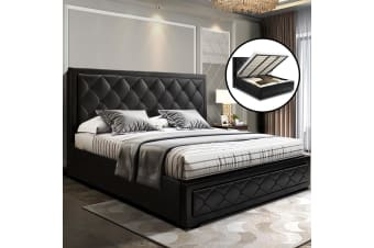 King Size Gas Lift Bed Frame Base With Storage Mattress Leather