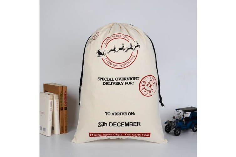 Large Christmas XMAS Hessian Santa Sack Stocking Bag Reindeer Children Gifts Bag - Cream - Express Delivery (2)
