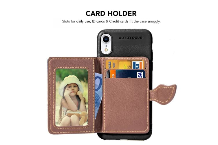For iPhone XR Case Black Lychee Texture PU Leather  TPU Wallet Cover 2 Card Slot