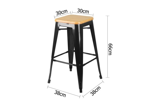 Set of 2 Replica Tolix Kitchen Bar Stool Bamboo Seat 66cm (Black)