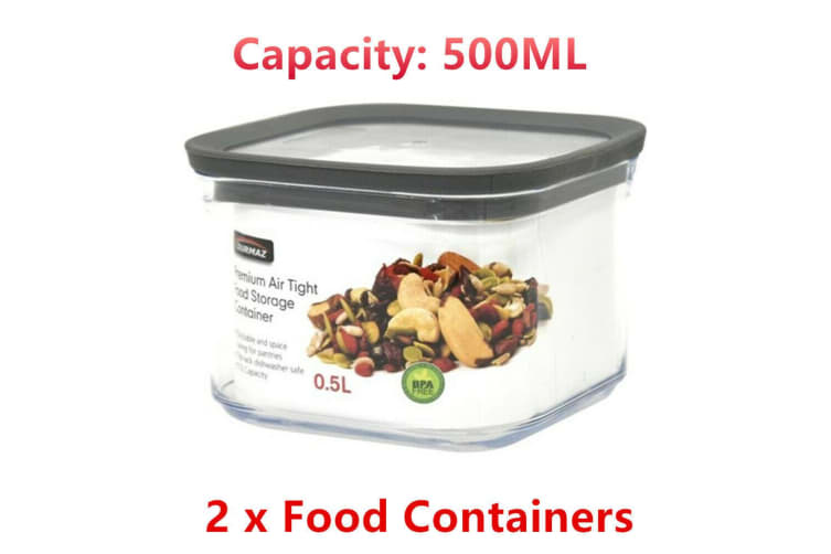 2 x Acrylic Plastic Air Tight Food Storage Container 500ML BPA Free Clear Kitchen