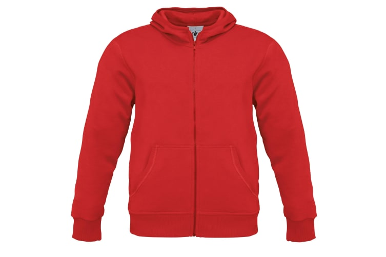 B&C Mens Monster Full Zip Hooded Sweatshirt / Hoodie (Red) (3XL)