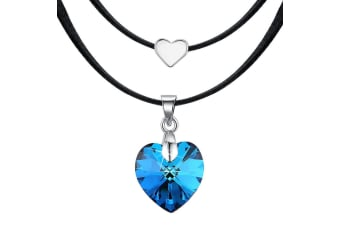 Love To Bermuda Blue Heart Necklace Embellished with Swarovski crystals