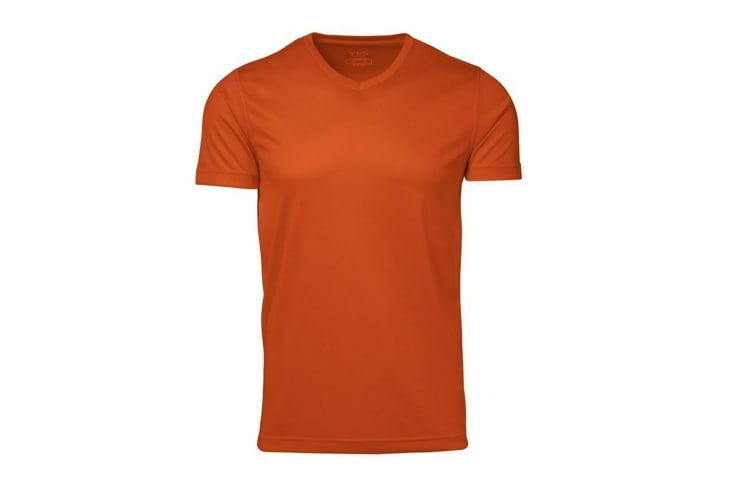 ID Mens Yes Functional Active Short Sleeve Fitted V-Neck T-shirt (Orange) (XS)