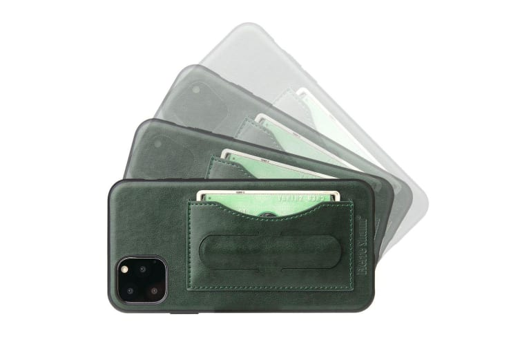 For iPhone 11 Case Green Luxury Leather Back Shell Protective Cover  Kickstand