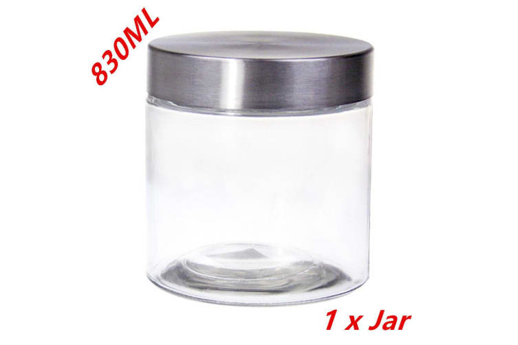 1 X Screw Top Storage Kitchen Glass Jars 830ML STAINLESS STEEL LID Cookie Jar