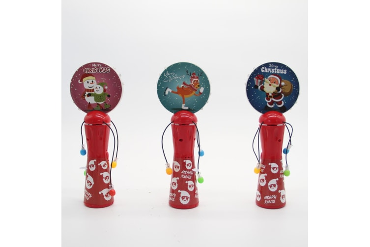 Christmas LED Light Up Hand Shaking Spinner Wand Rattle Drum Xmas Kids Toy Gift - Santa