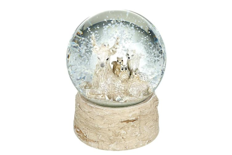 Sitting Deer With Friends Snow Globe (Brown) (One Size)