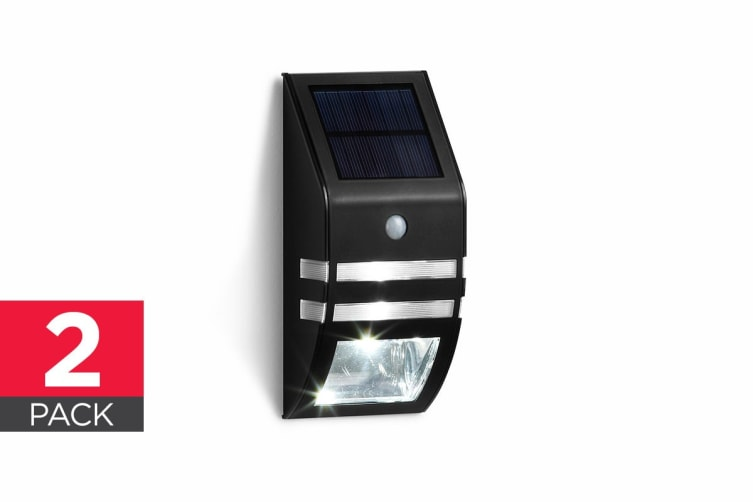 Solar Powered Wall Mounted Motion Sensor LED Light (Black, Mina) - 2 Pack