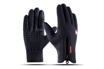 Outdoor Skiing Cold-Proof Silica Gel Touch Screen Bicycle Thicker Gloves - Black Black M