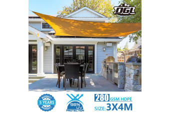 OGL 280GSM Sun Shade 98% UV Blocking - 3x4m Beige