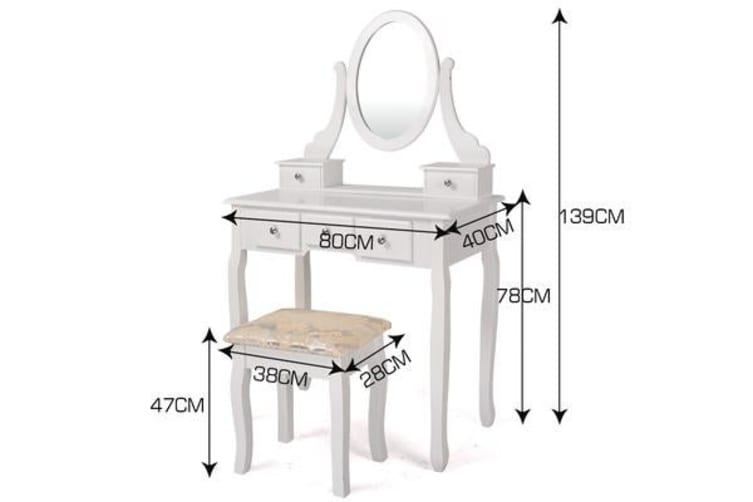 5-Drawer Mirror Dressing Table & Stool in White