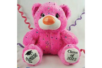Graduation Personalised Teddy Bear 40cm Hollywood Pink