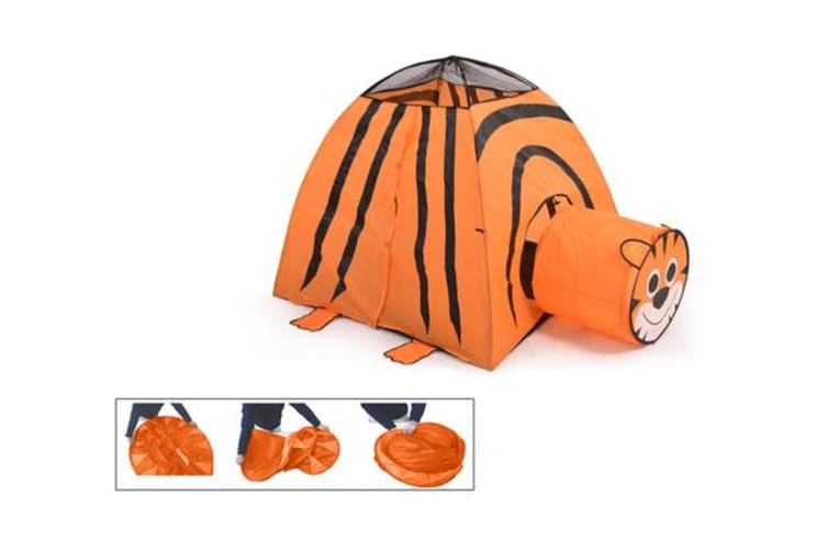 2 in 1 Play Tent Kids Toddlers Tunnel Pop Up Cubby Playhouse - Tiger