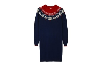 FatFace Womens/Ladies Fairisle Dress (Navy/Red) (18 UK)